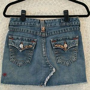 True Religion denim distressed mini skirt